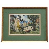 """Paul Louis Guilbert (1886- 1952) color aquatint pencil signed limited edition print """" Dejeuner Sur L' Herbe"""""""