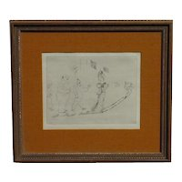 "Marc Chagall (1887- 1985) plate signed etching from "" Dead Souls""series"