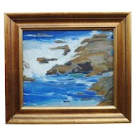 Louise Everett Nimmo (1899-1959) Impressionist California plein air double sided seascape oil painting