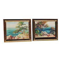 Pair Impressionist California plein air coastal scene with cypress trees oil paintings
