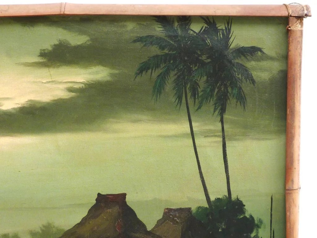 Filipino art tropical moonlight landscape painting dated 1968 signed ...