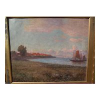 "Frank C. Penfold (1849- 1921) impressionist oil painting ""Zuyder ZEE"" noted American artist coastal scene"