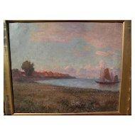 "Frank C. Penfold (1849- 1921) impressionist oil painting ""Zuyder ZEE"" noted American artist coastal scene"