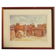 Southwestern Art Taos New Mexico watercolor painting of adobe signed circa 1939