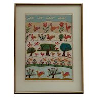 "Shalom Moskovitz (1885- 1980) well listed Israeli artist color lithograph ""Birds and Trees, after the Flood"""