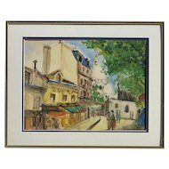 French mid 1950's Paris Montmartre street scene ink and watercolor painting