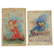 Pair original Disney Snow White drawings of dwarfs signed and dated 1943