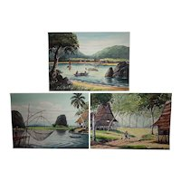 Three Asian art watercolors landscape paintings likely Indonesia, Thailand or Philippines signed S.Salolly
