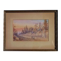 Italian watercolor painting signed J.Shearman sunset near Rome