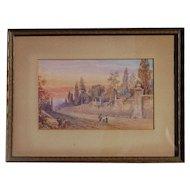 Italian watercolor painting signed J.Shearman sunset near Rome