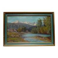 Adalbert Wex (1867 - 1932) German listed artist mountains lake landscape painting