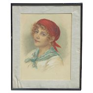Vittorio Tessari (1860- 1947) Italian artist watercolor painting of a young woman
