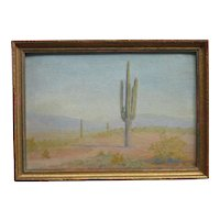 Southwestern Arizona saguaro cactus oil painting in a desert landscape
