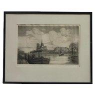 1922 Paris Edouard Leon French artist original etching signed RARE