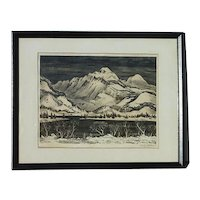 Adolf Dehn (1895 - 1968) well listed American artist Colorado mountains pencil signed lithograph
