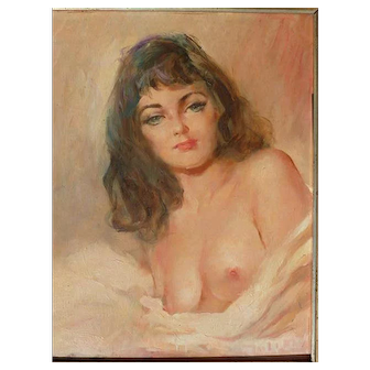 Julian Ritter (1909 -2000) listed American artist oil painting of a nude