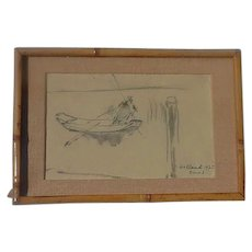 Otto Ernst (1884 -1967) well listed Swiss artist watercolor ink drawing sketch of a boat