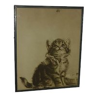 Cat art Meta Pluckebaum (1876 - 1945) silkscreen print  of adorable kitten