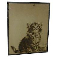 Cat art Meta Pluckebaum (1876 - 1945) silkscreen print  of adorable kitten