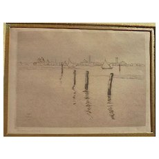 Hermann Struck (1876 -1944) well listed German Jewish artist etching of Venice Italy signed numbered 1910