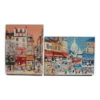 Pair colorful France Paris street scene primitive folk art pointillism style naive mixed silkscreen painting paintings