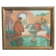 Louise Everett Nimmo (1899 - 1959) listed American artist California Mission Courtyard Monk Fountain Flowers