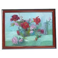Joan Horsfall Young contemporary California impressionist artist floral still life roses oil painting