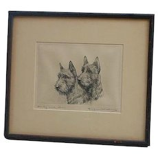 """Marguerite Kirmse (1885 -1954) American well listed artist """"Darby and Joan"""" etching print Scottish Terrier dogs"""