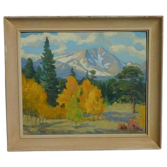 Alfred Wands (1904 - 1998) American well listed artist Colorado autumn landscape oil painting