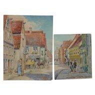 PAIR 1938 Nurnberger Bavaria Germany watercolor paintings of street scenes