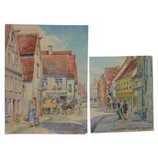 PAIR 1938 Nurnberger Bavaria Germany watercolor paintings of street scenes