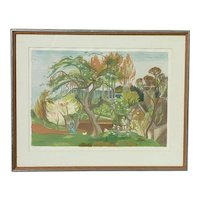 Maurice Mourlot (1906 -1983) well listed French painter color limited edition lithograph signed in pencil