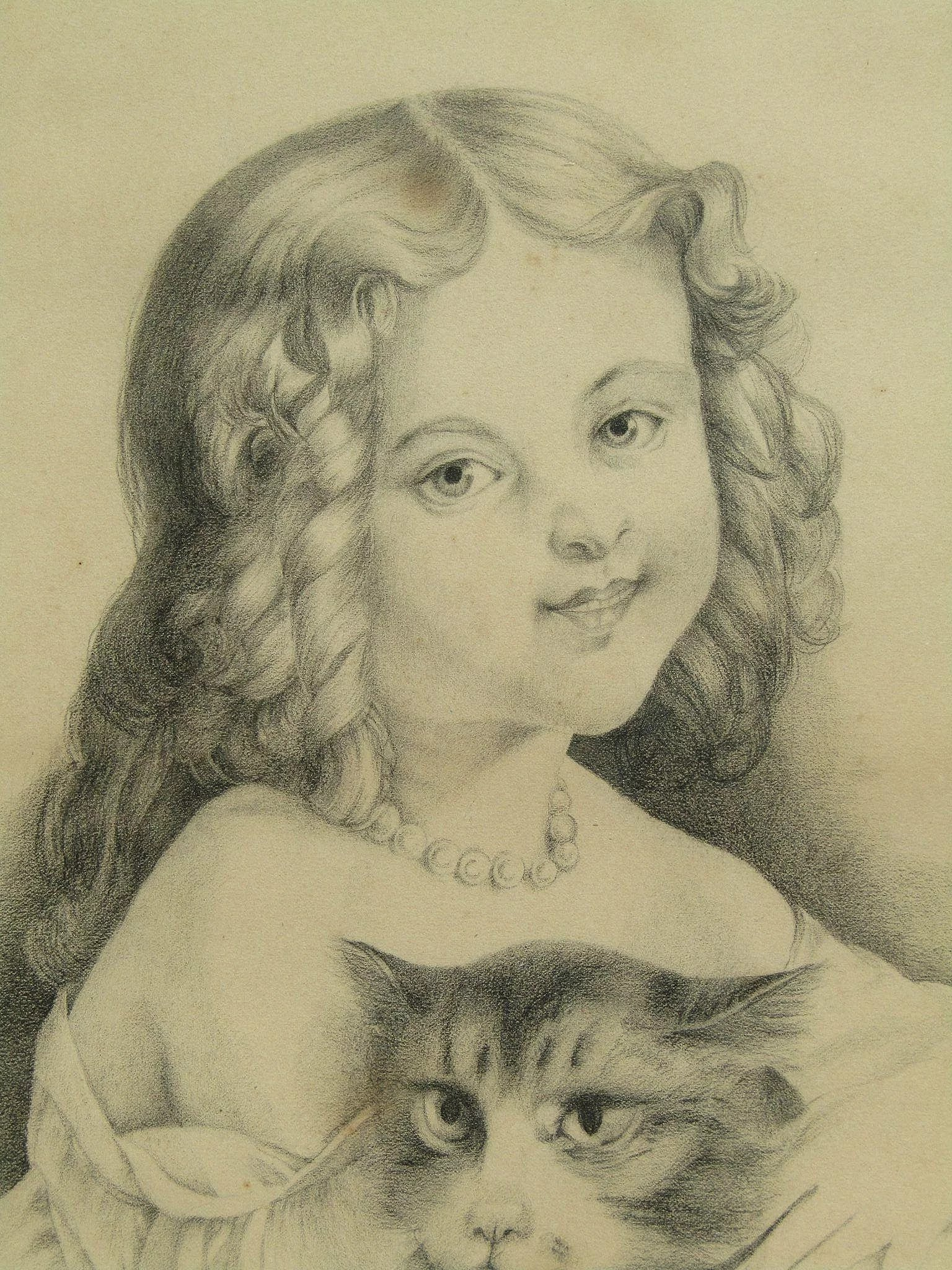 Charcoal Drawing Portrait Of A Young Victorian Girl