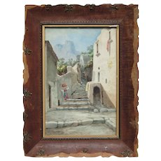 Andrea Cherubini (1833 -1905) Italian late 19th century watercolor painting