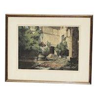 Luigi Kasimir (1888 -1962) Austrian Hungarian artist original colored etching of Seebenstein castle Austria pencil signed