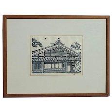 Takehiko Hironaga pencil signed numbered woodblock print