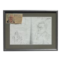 Raul Anguiano (1915-2006) Mexican art original inscribed pencil portrait drawing of a friend by major artist