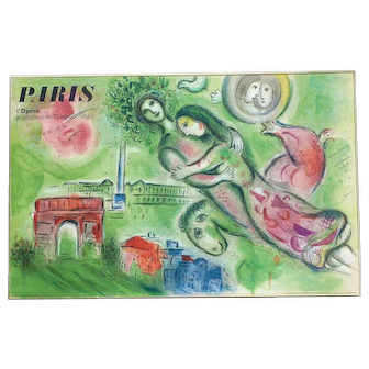 """Marc Chagall (1887-1985) original lithograph print """"Romeo and Juliet"""" printed by Mourlot"""