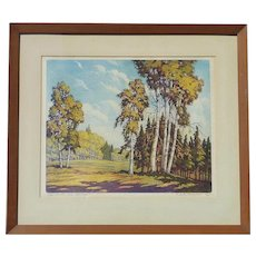Floyd Leslie Thompson (1889 - 1965) American listed artist aquatint color etching Paper Birches Superior National Park Minnesota forest landscape