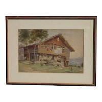 1889 M. Schmid signed Tyrolean Austria or Switzerland mountains landscape watercolor painting with figures and traditional house