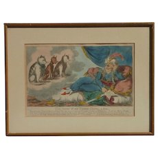 "Cat art ""The vision of the three cats , a Fable"" caricature hand colored print from 1800's"