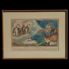 """Cat art """"The vision of the three cats , a Fable"""" caricature hand colored print from 1800's"""