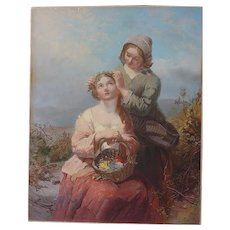 James John Hill (1811 - 1882) English artist chromolithograph of two young ladies in a landscape