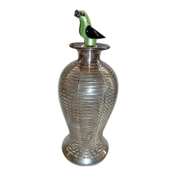 Sterling silver overlay covered bottle bird cage shape with parrot stopper