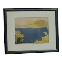 Conrad Buff (1886 -1975) American California well listed artist color lithograph print signed in pencil