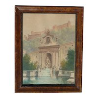 Rudolf Kargl (1878 - 1942) Austrian well listed artist watercolor painting Neptune Fountain