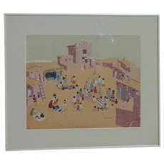 Southwest art New Mexico folk art style color serigraph print