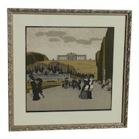 Ludwig Heinrich Jungnickel (1881 -1965) Austrian artist lithograph of Schoenbrunner Park in Vienna