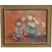 Jean C. Harman (1897 -1981) American woman Artist  still with Chinese doll oil painting