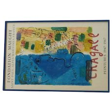 "Marc Chagall (1887- 1985) original lithograph poster ""FOUNDATION MAEGHT SAINT - PAUL . ALPES - MARITIMES. FRANCE"" printed by Mourlot"